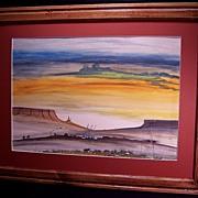 Native American Navajo Watercolor Sunrise Painting