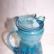 Handblown Blue Crackle Glass Pitcher