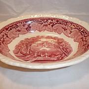 Mason's Vista Pink Red Transferware Vegetable Bowl--Patent Ironstone China