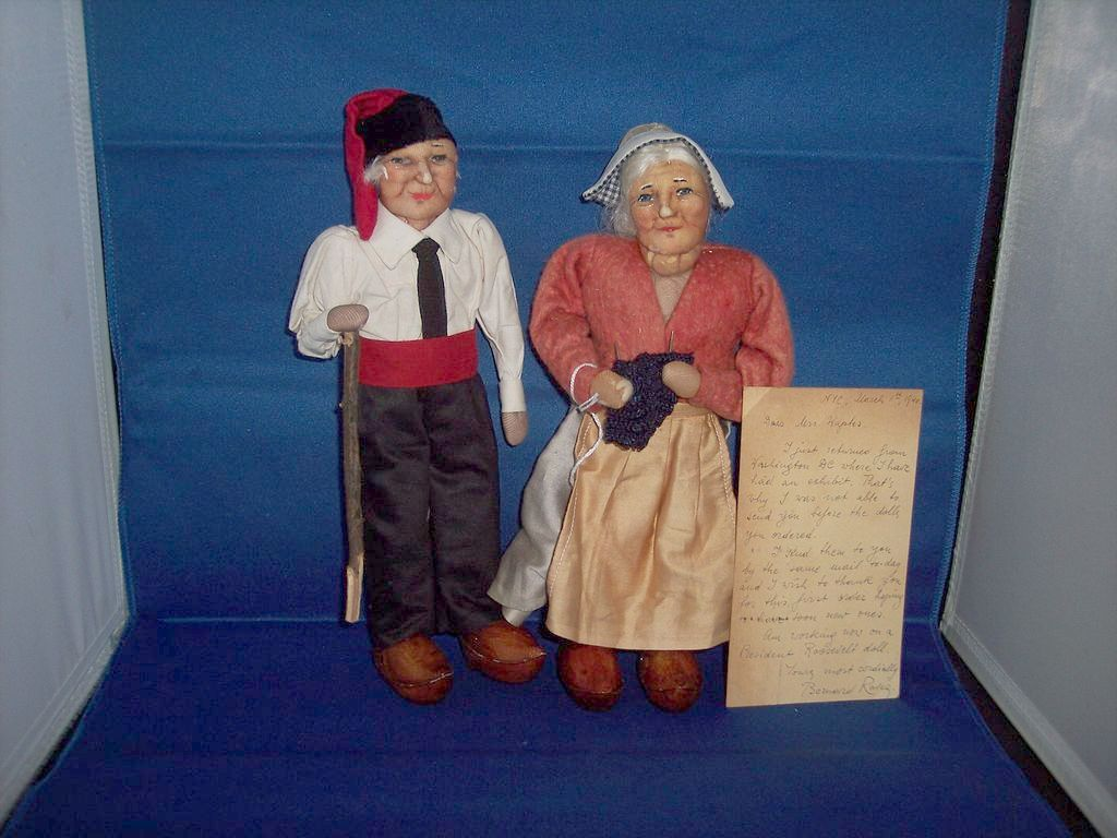 Bernard Ravaca Peasant Dolls With postcard from him 1940