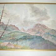 Vintage Watercolor - Rocky Mountain Scene