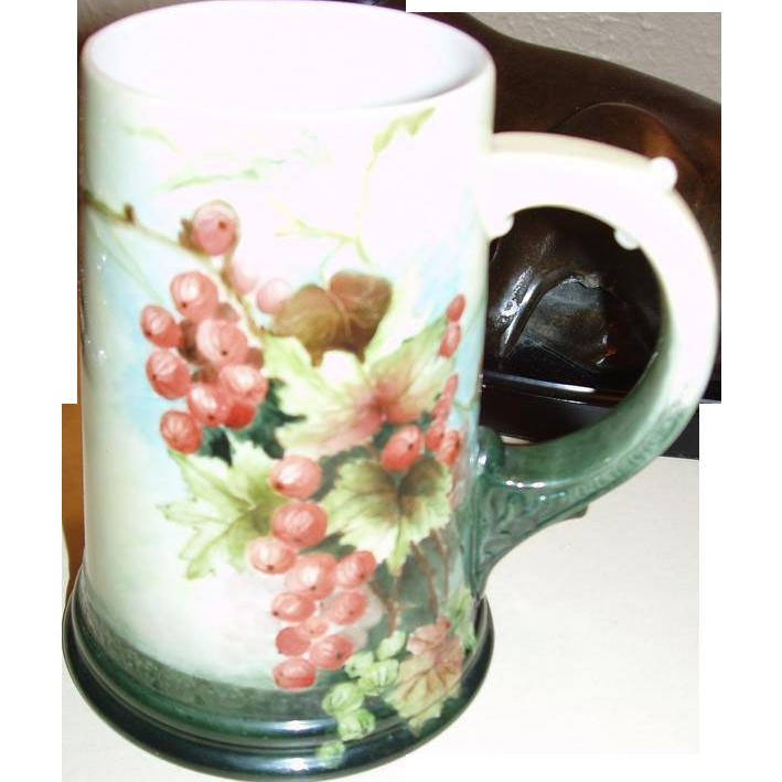 Signed Antique American Belleek Mug Stein Currants
