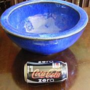 Vintage HEAVY enameled hand made art pottery bowl