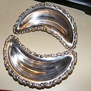 Antique Adelphia Silver Co. Bone Dishes - pair