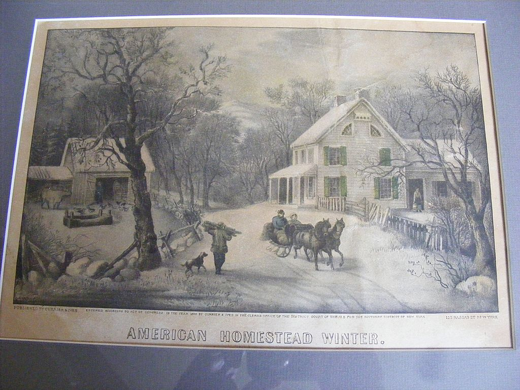 """Antique 1868 Currier & Ives Hand Colored Lithograph """"American Homestead Winter"""""""