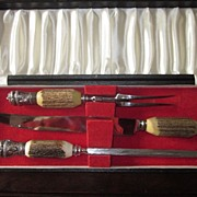 Nice 3 Piece Antler Handle Carving Set