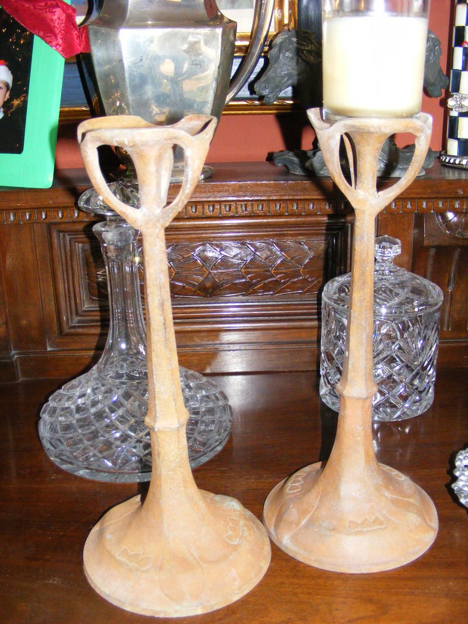 Set of 2 Hand Made Cast Iron Art Deco Candle Stick