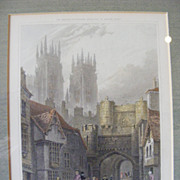 Framed Hand Colored Engraving 1828 Bootham Bar, York