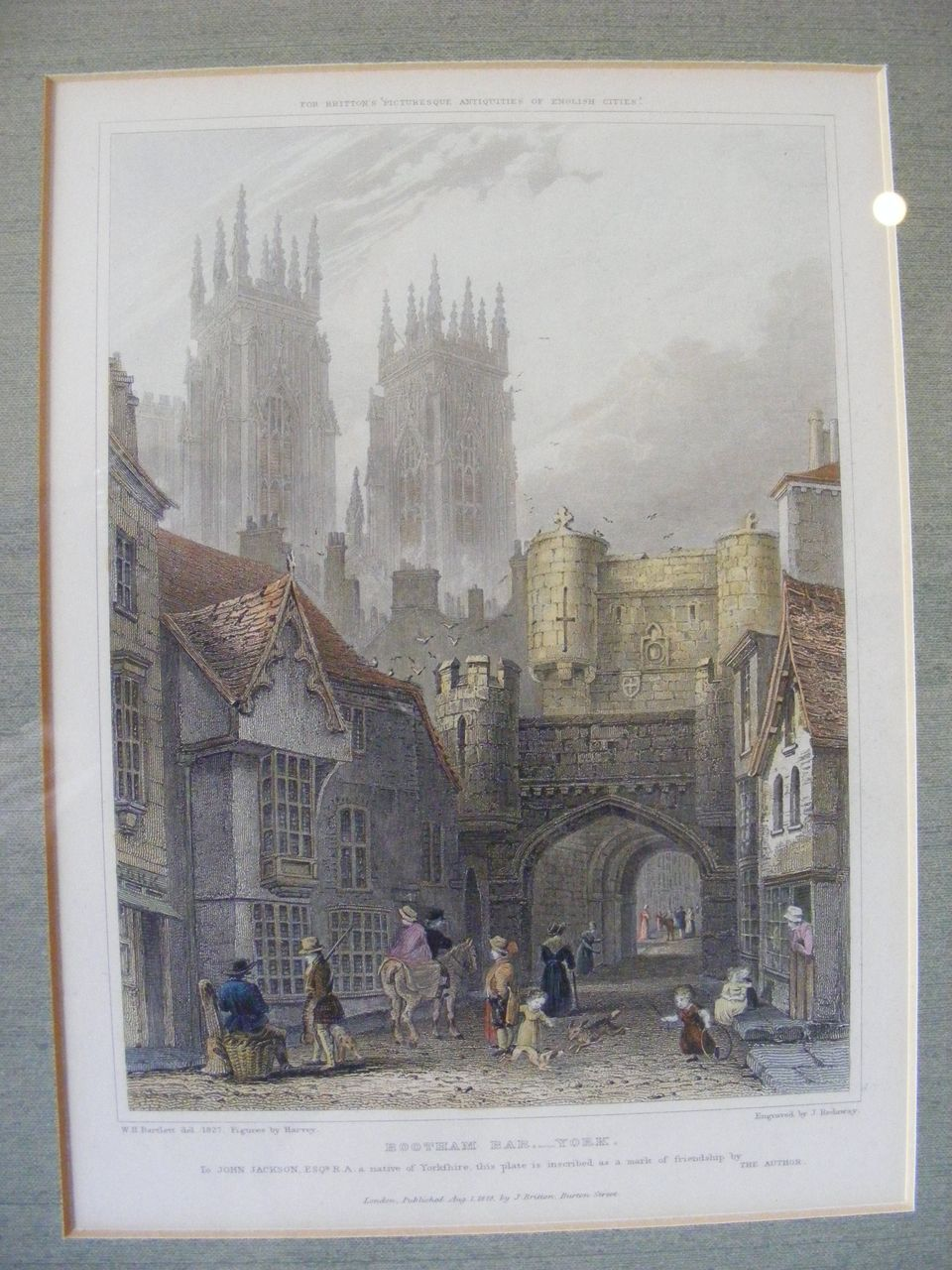 Framed Hand Colored Engraving 1828 Bootham Bar, York