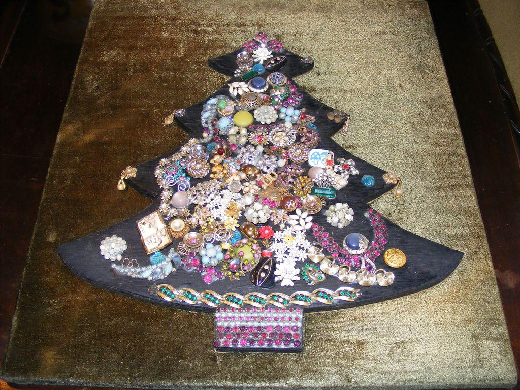 Vintage Costume Jewelry Christmas Tree Collage