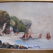 Vintage 1923 Painting Clovelly, England - Signed