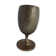 Antique Wilcox Silver Plate Goblet with Engraved Stags