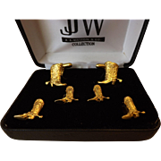 J.J. Weston Formal Set - Cufflinks and Studs- Gold Plates Cowboy Boots