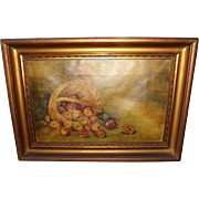 Antique Folk Art Oil Painting - Bushel of Apples