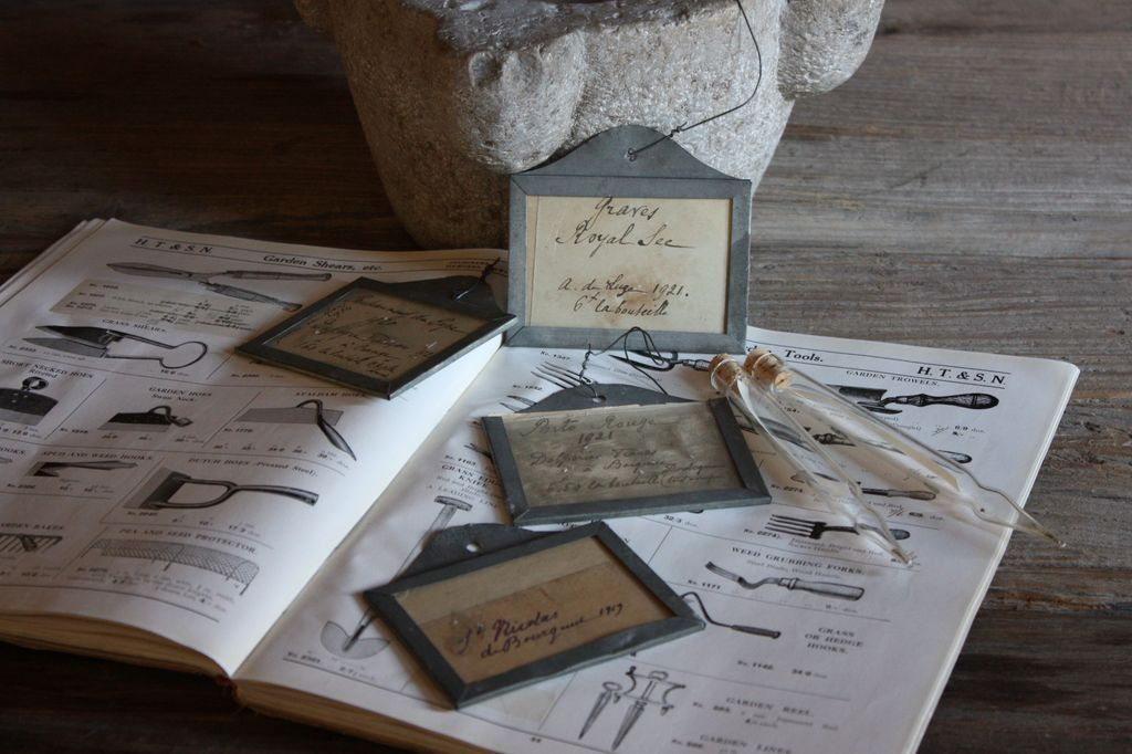 Antique French Wine Bin Cellar Labels & Glass Seed Vials