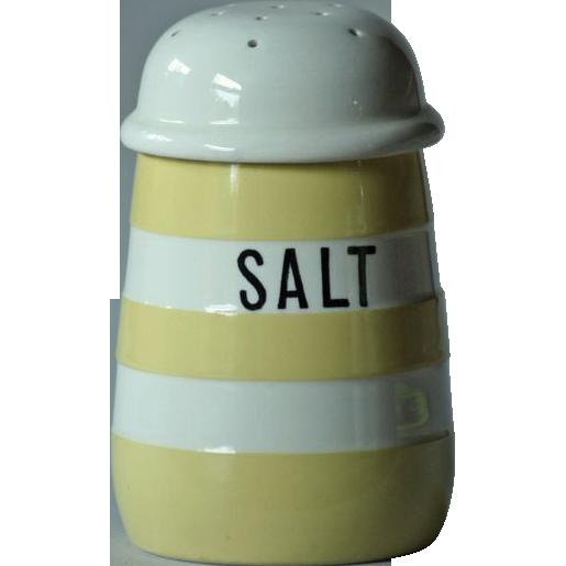 T. G. Green YELLOW Banded Cornish Ware SALT Shaker - Cornishware