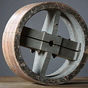 Antique French Pulley Wheel - Vintage Industrial Form / Architectural Salvage Element
