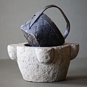 Antique Swedish Splint Woven Painted Basket - 19th Century Folk Art Scandinavian Basket