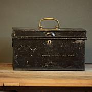 Vintage Industrial English Painted Metal Deeds Cash Box