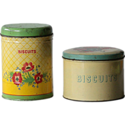 Vintage English Biscuit Tins - Retro Kitchen Storage Canisters