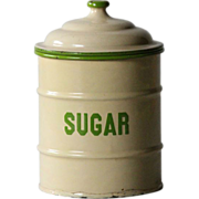 English Enamelware Kitchen SUGAR Canister - Graniteware