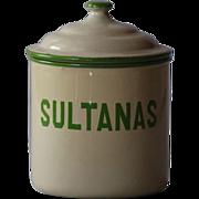 Vintage English Enamelware SULTANAS Kitchen Canister - Graniteware