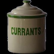 Vintage English Enamelware CURRANTS Kitchen Canister - Graniteware