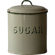 Vintage English Enamelware SUGAR Kitchen Canister - Graniteware #3