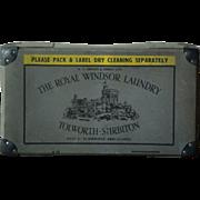 Vintage English LAUNDRY Storage Advertising BOX - Royal WIndsor Laundry