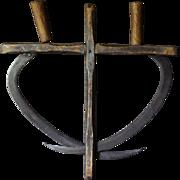 Antique Scythes & Painted Folk Art Primitive Wood Carrier - Sickle / Farm Garden Tool