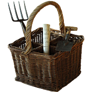 Antique French Wicker Champagne Carrying Basket - Bottle Carrier