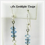 Sparkling Light Blue Crystal Dangle Earrings