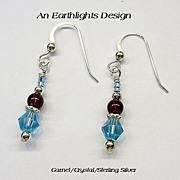 Garnet and Swarovski Crystal Dangle Earrings
