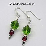 Olive Green/Dark Red Swarovski Crystal Dangle Earrings