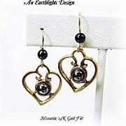 """Hematite """"Heart"""" Earrings"""