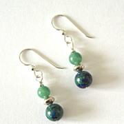 Beautiful Azure-Malachite Dangling Earrings