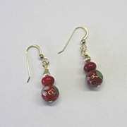 Bamboo Coral & Cloisonne Earrings