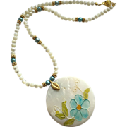 Beautiful Mother of Pearl Necklace with Shell Focal & Freshwater Pearls