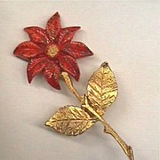 Vintage Poinsettia Pin Signed w/Miraculous Medal Mark