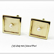 Beautiful Square Cufflinks w/Pearl