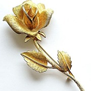 Lovely Vintage Signed Long-Stemmed Rose Pin