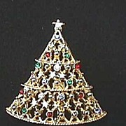 Vintage JJ Rhinestone Christmas Tree Pin