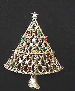 Vintage JJ Rhinestone Christmas Tree Pin
