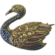 Wonderful Vintage Rhinestone/Enamel Duck Pin