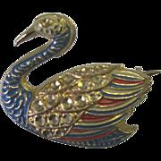 Wonderful Vintage Rhinestone/Enamel Duck Pin