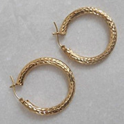 Hoop Diamond Cut Earrings 14 kt Yellow Gold Pierced