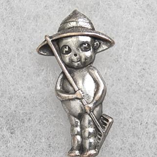 "Kewpie Pin  Brooch ""The Farmer"" Silver Plate Vintage"