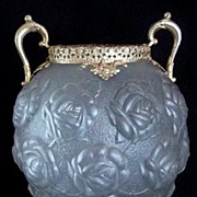 Czech Glass Vase w/Embossed Roses and Brass Filigree Vintage