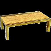 Rare Milo Baughman Burlwood and Brass Coffee Table
