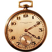 Spectacular 18K Gold Vacheron Constantin Pocket Watch ca 1920's